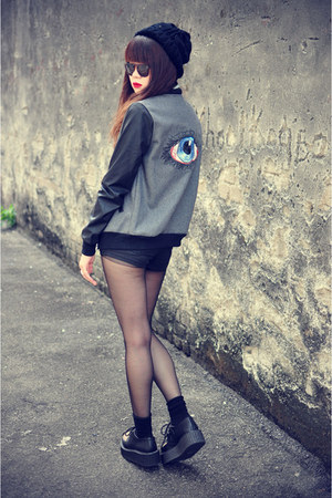 baseball jacket - creepers shoes - denim shirt - Topshop shorts - glasses