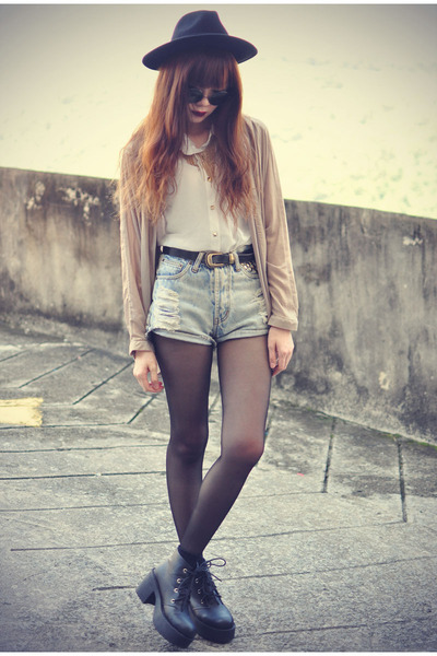 leather boots - OASAP hat - denim shorts - inlovewithfasion blouse