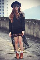 Chicwish boots - OASAP hat - Chicwish sweater - Topshop socks - round sunglasses