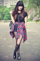 lace print blouse - leather boots - ianywear shirt - backpack bag
