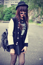 Baseball-jacket-choies-jacket-leather-boots-forever-21-hat
