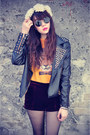 Leather-jacket-lulus-shorts-round-sunglasses-floral-crown-accessories