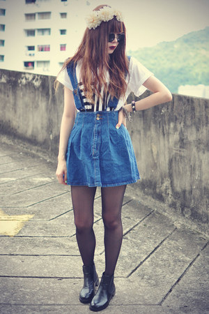 denim shopgipsypixie skirt - leather boots - round sunglasses - Udobuy t-shirt