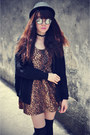 Creepers-shoes-leopard-print-dress-forever-21-hat-knitted-cardigan