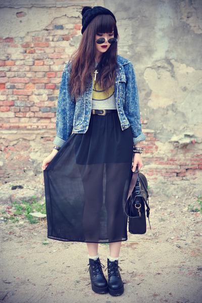 denim jacket - Choies bag - daisypotion sunglasses - t-shirt - indresme skirt