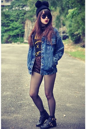 denim jacket Choies jacket - Choies boots - leopard print shorts