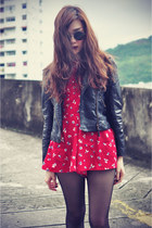 playsuit Choies suit - leather boots - Sheinside jacket - round sunglasses