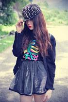 oversize jacket jacket - skirt - bone top - studded cap accessories