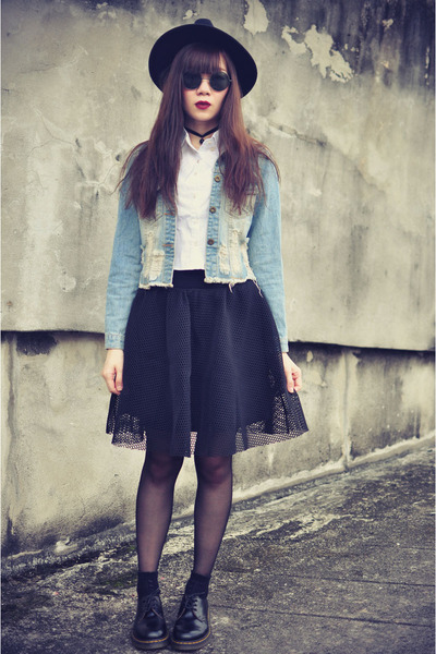 OASAP hat - OASAP jacket - shirt - sunglasses - Choies skirt