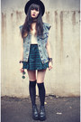 Boots-oasap-hat-overknee-socks-plaid-chicwish-skirt-denim-vest