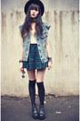 Boots-oasap-hat-overknee-socks-plaid-chicwish-skirt-denim-vest