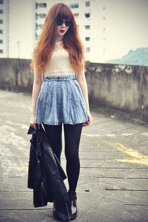 denim Sheinsidecom skirt - ankle boots Chicwish boots