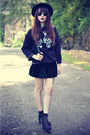 Forever-21-hat-skull-sweater-leather-bag-round-sunglasses-velvet-skirt