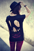 skull t-shirt - leggings - denim shirt shirt
