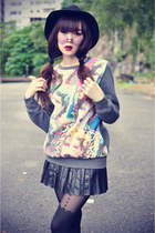 sweatshirt - hat - Topshop tights - round sunglasses - pu skirt - Choies wedges