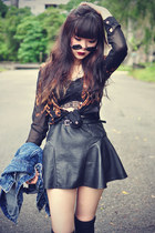 leather skirt - denim jacket - round sunglasses - Sheinside blouse