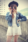 Leather-boots-sheinsidecom-dress-oasapcom-hat-denim-jacket