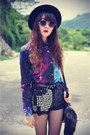 Galaxy-oasap-shirt-leather-boots-forever21-hat-denim-shorts
