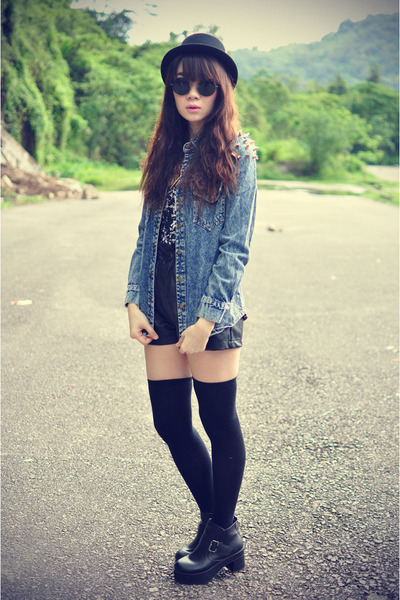 boots - Forever 21 hat - shirt - leather shorts shorts - Motel Rocks bodysuit
