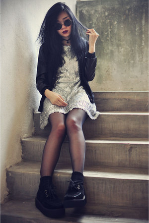 creepers shoes - sequin Martofchina dress - younghungryfree jacket - socks