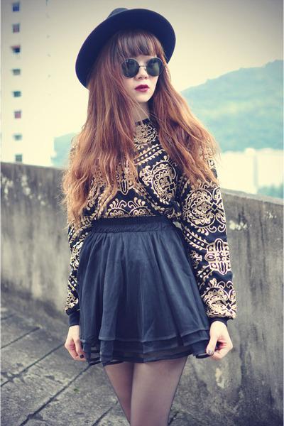 Chicwish sweater - boots - OASAP hat - round sunglasses - Chicwish skirt