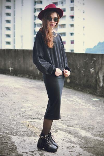 Choies boots - Choies hat - sunglasses - StyleMoi sweatshirt - StyleMoi skirt