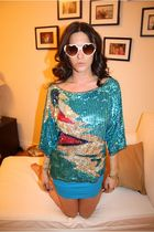 f21 sunglasses - American Apparel dress - vintage shirt