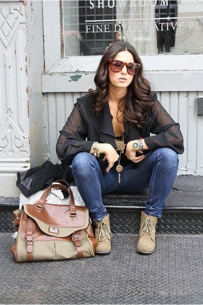 vintage bracelet - f21 boots - Zara bag - Ksubi sunglasses - vintage blouse