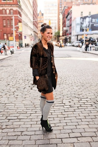 f21 socks - united nude shoes - vintage jacket - f21 dress - jumper
