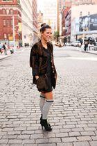 f21 socks - united nude shoes - vintage jacket - f21 dress - jumper