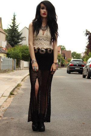 slit lace maxi Nasty Gal skirt - crochet crop Somedays Lovin top