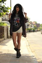 biker Spell Designs shirt - kimono Urban Outfitters jacket - crochet H&M shorts