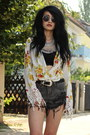 Studded-ash-boots-distressed-romwe-shorts-floral-crochet-nasty-gal-blouse