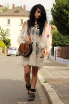 black cowboy Zara boots - white free people dress - brown vintage from Ebay bag