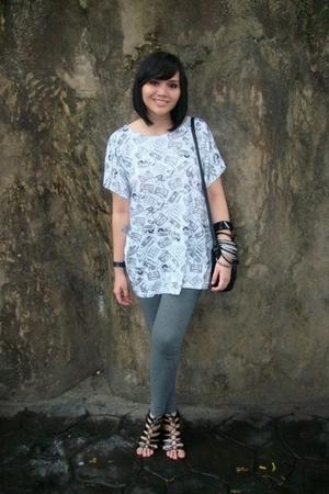 blouse - cotton on leggings - accessories - shoes
