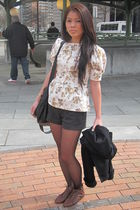 white top - gray f21 shorts - brown Jeffrey Campbell