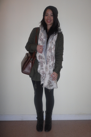 white H&M scarf - brown vintage purse - green f21 jacket - gray f21 sweater - wh