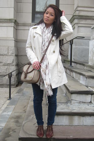 beige Target kids coat - H&M scarf - f21 jeans - brown Jeffrey Campbell shoes -