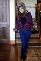 brown Urban Outfitters hat - black sam edelman boots - navy American Eagle jeans