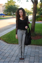 black moms bag - black Payless heels - gray Express pants - black Dillards belt