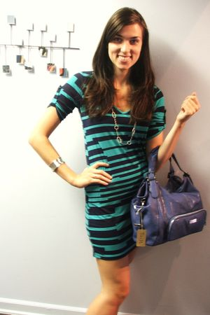 blue V Fish dress - blue melie bianco purse - silver KAmato necklace - silver KA