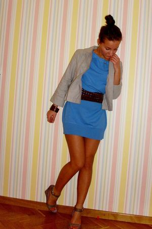 purple shoes - blue Vero Moda dress - silver jacket - brown accessories