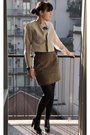 Beige-rick-owens-jacket-green-h-m-skirt-brown-balenciaga-shoes