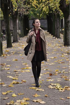 beige zara coat Zara coat - red YSL blouse - black zara skirt Zara skirt