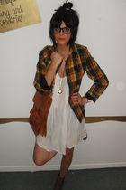 vintage blazer - Topshop dress - Dorothy Perkins boots - Vinatge accessories