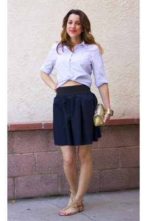 Necessary Objects skirt - Lacoste shirt - gold clutch vintage chanel bag