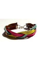 hot pink leather braided Beatniq Designs bracelet