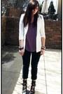 Black-thrifted-jeans-white-forever-21-blazer-amethyst-arden-b-shirt