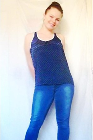 blue jeans - navy blouse