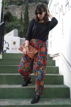 red vintage pants - black hazel shoes - black Zara sweater